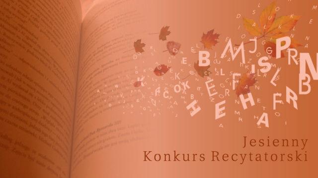 baner reklamujący Jesienny Gorlicki Konkurs Recytatorski. Zdjęcie przedstawia literki mieszające się zjesiennymi liśćmi natle otwartej książki