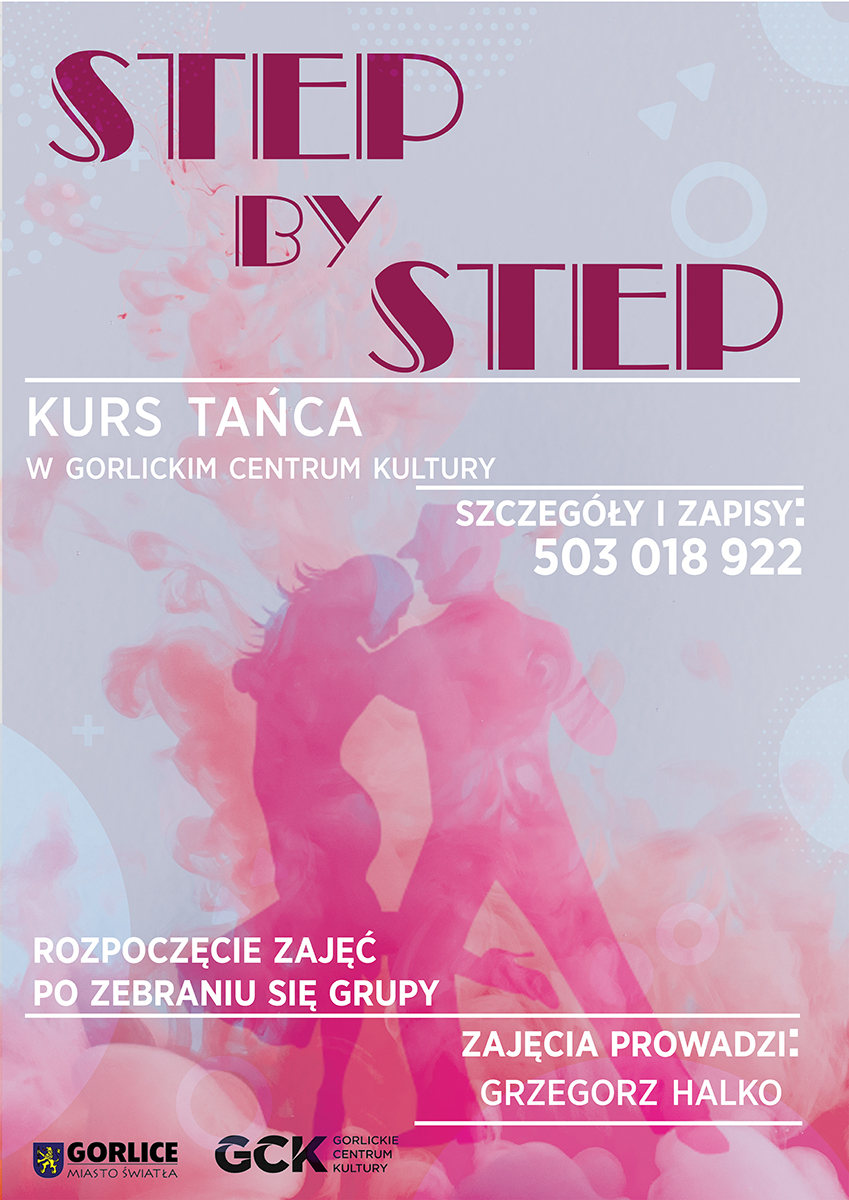 Plakat reklamujący Kurs tańca wGorlickim Centrum Kultury. Nazdjęciu widać parę tancerzy orazinformację jak można zapisać się nakurs.