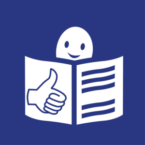 logo tekstu łatwego do czytania i rozumienia: głowa nad otwartą książką i podniesiony kciuk w geście OK